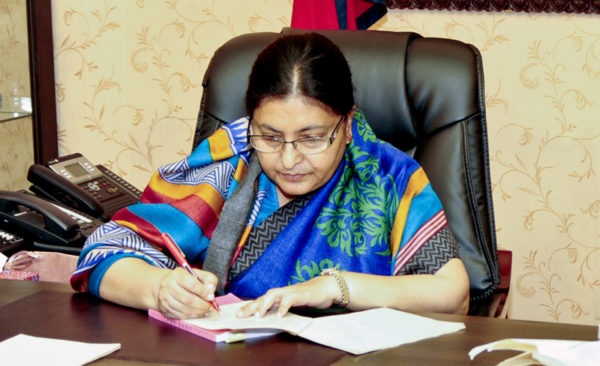 President Bhandari express concerns over Nepalis in US