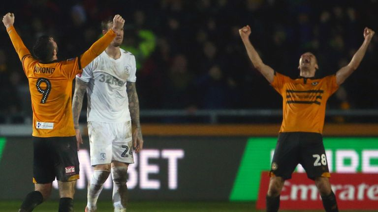 Newport beat Middlesbrough to set up FA Cup tie with Manchester City