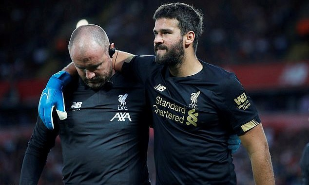 Liverpool's Alisson Becker out for 'next few weeks'